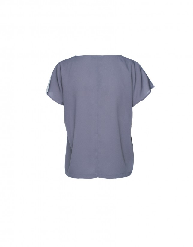 Light and dark grey cap sleeve top
