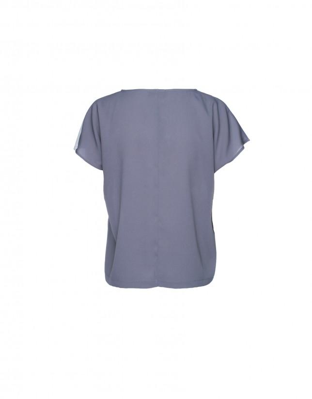 Light and dark grey cap sleeve top