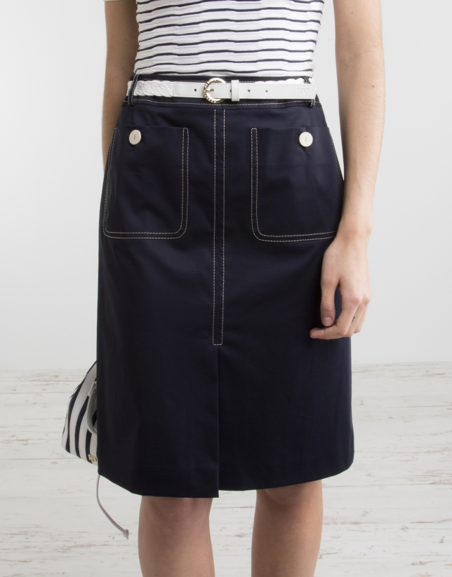 Falda recta azul marino