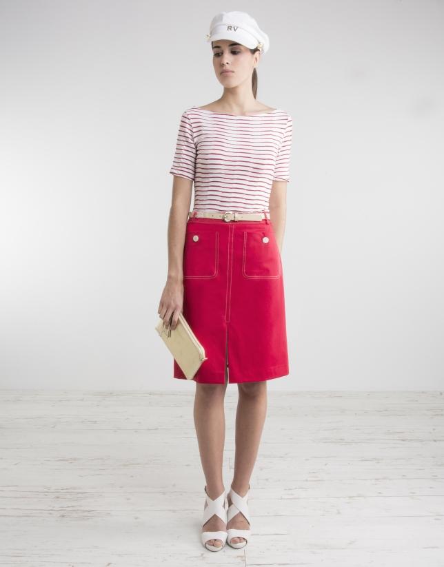 Red straight skirt