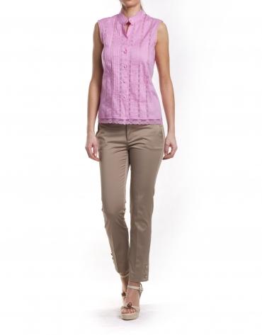 Camisa sin mangas con lorzas y puntillas