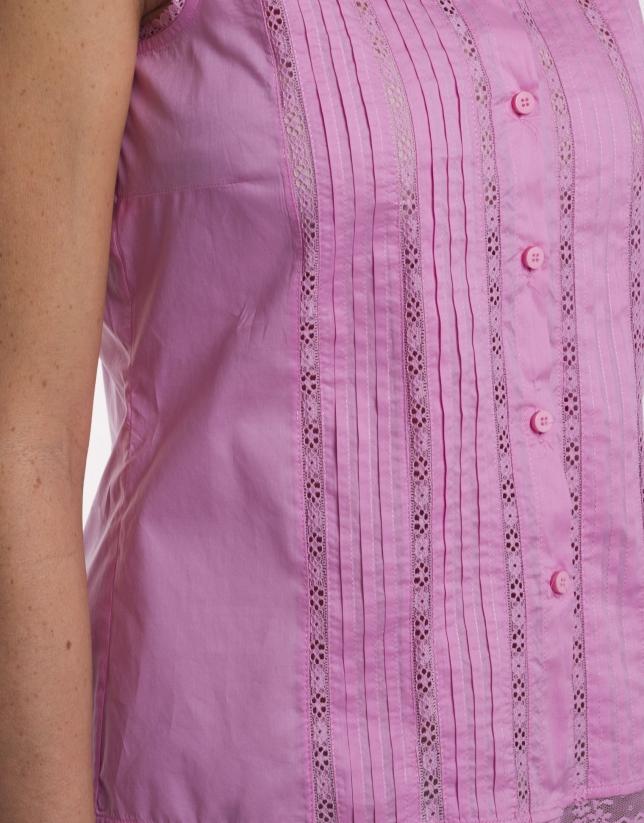 Top coton plissé avec dentelle