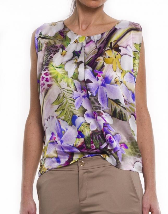 Wide silk blouse