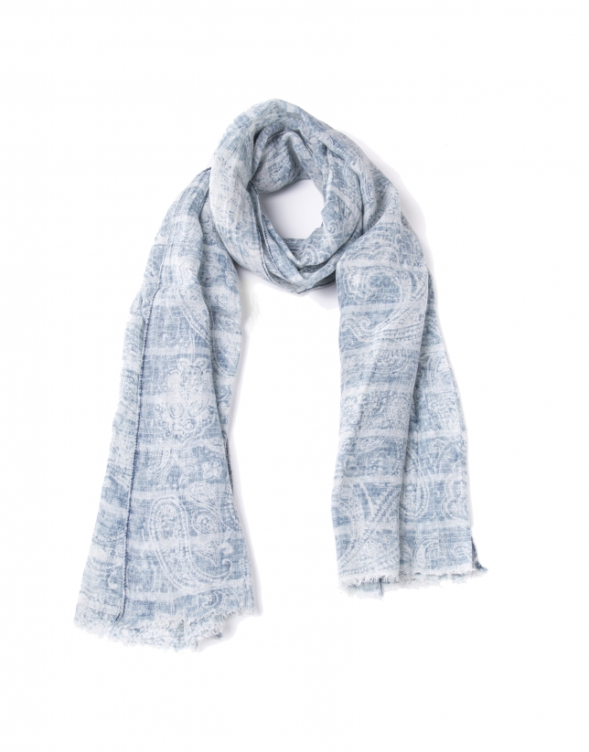 Foulard estampado tonos azules
