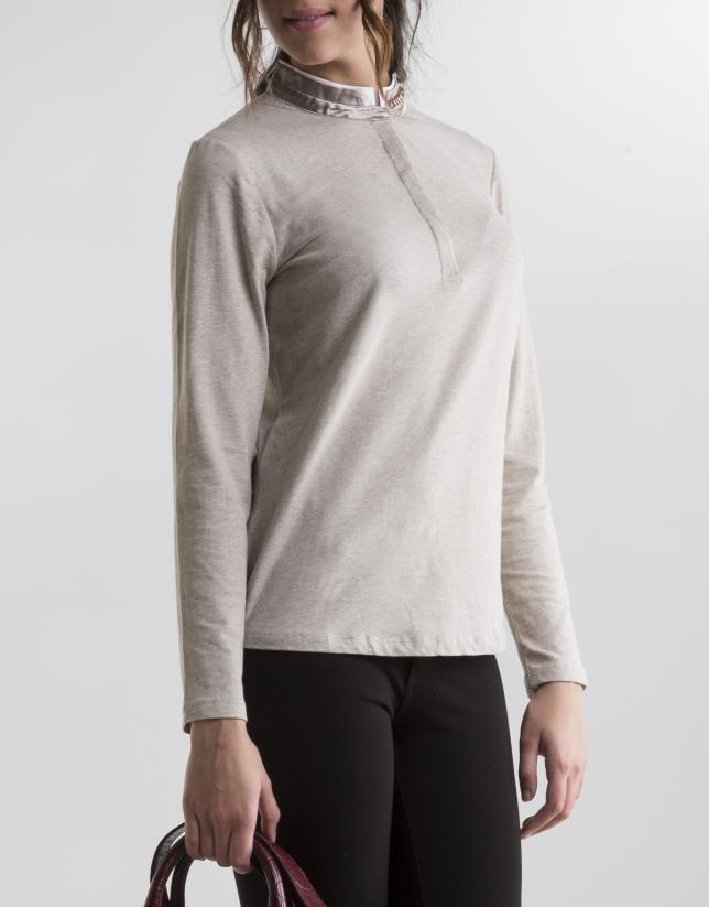 T-shirt couleur sable col mao