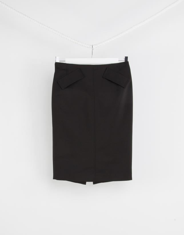 Black skirt with backstitching