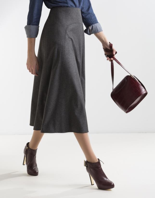 Gray midi skirt