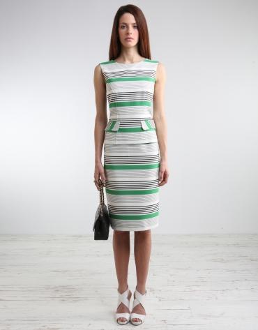 Striped straight skirt