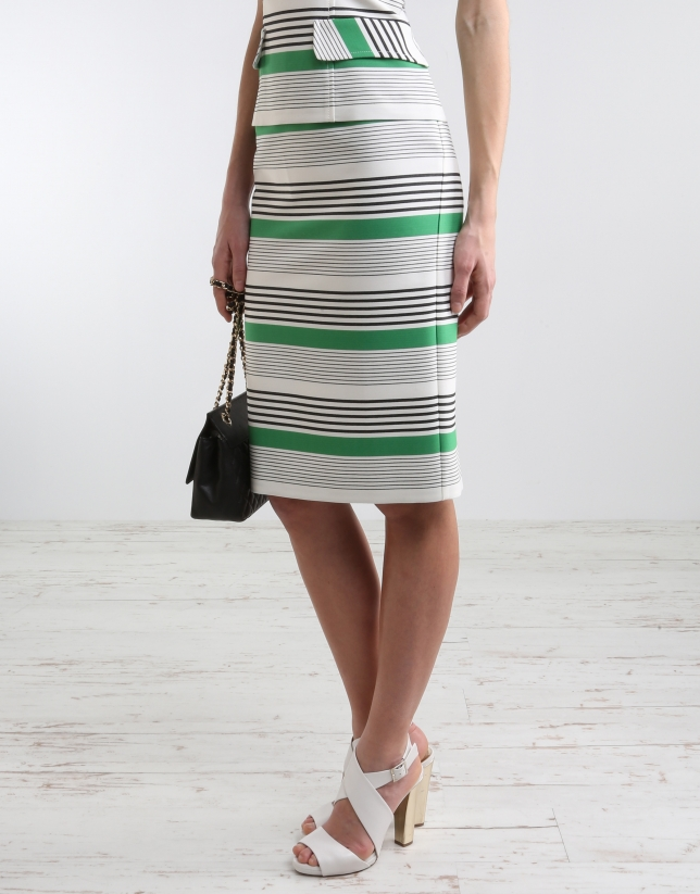Striped straight skirt