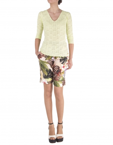 Lime green openwork sweater