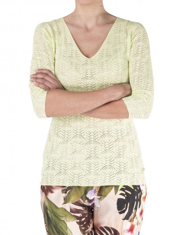 Yellow openwork sweater