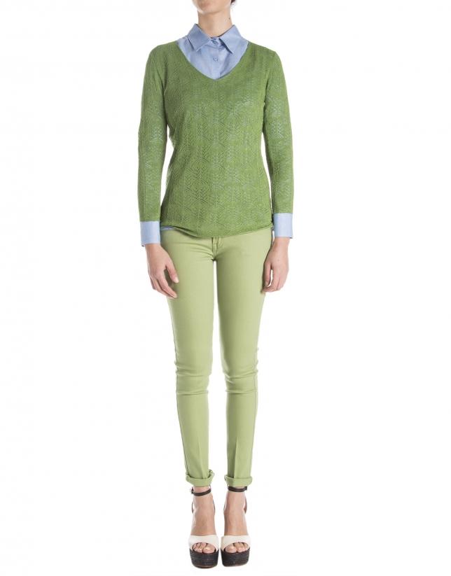 Green openwork sweater