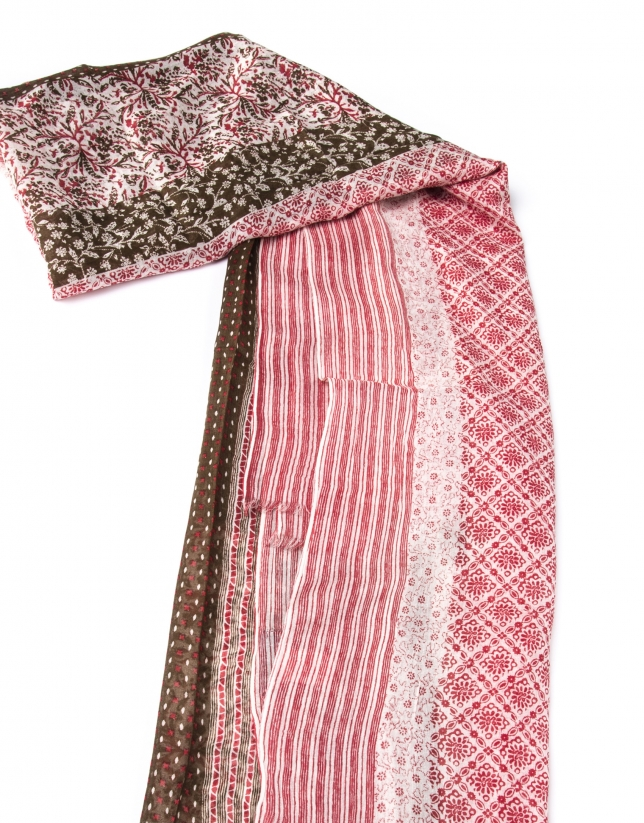 Red print scarf