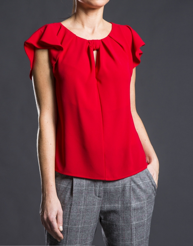 Red ruffled fantasy top
