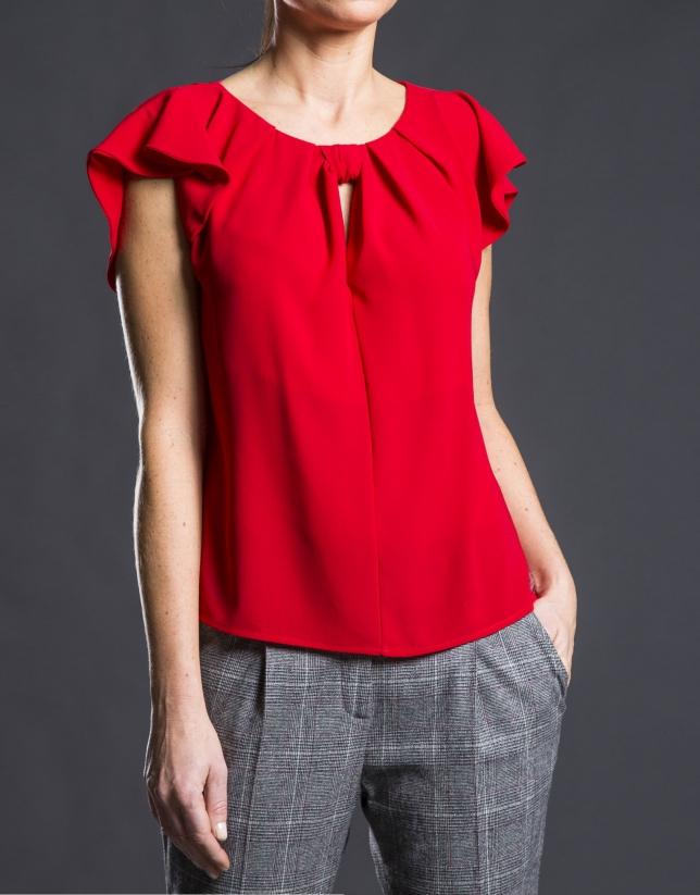 Red ruffled fantasy top