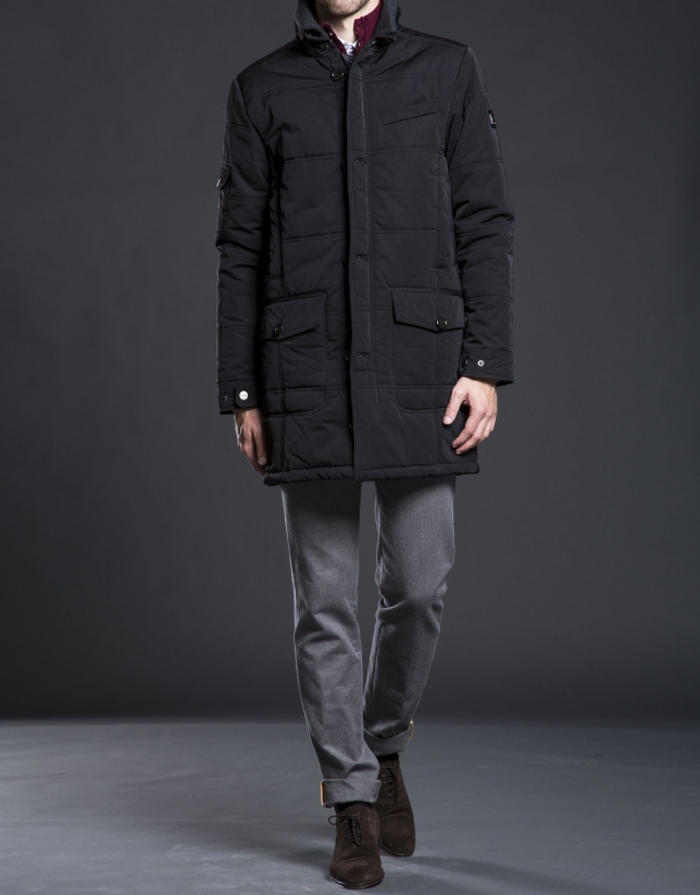 Black tracksuit jacket with detachable hood