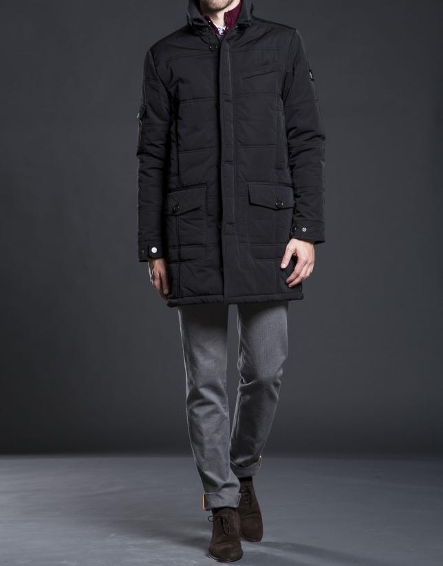 Black tracksuit jacket with detachable hood