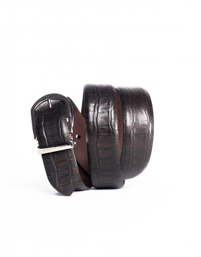 Engraved brown belt 100% cow leather
