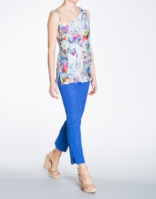 Floral print long asymmetric top
