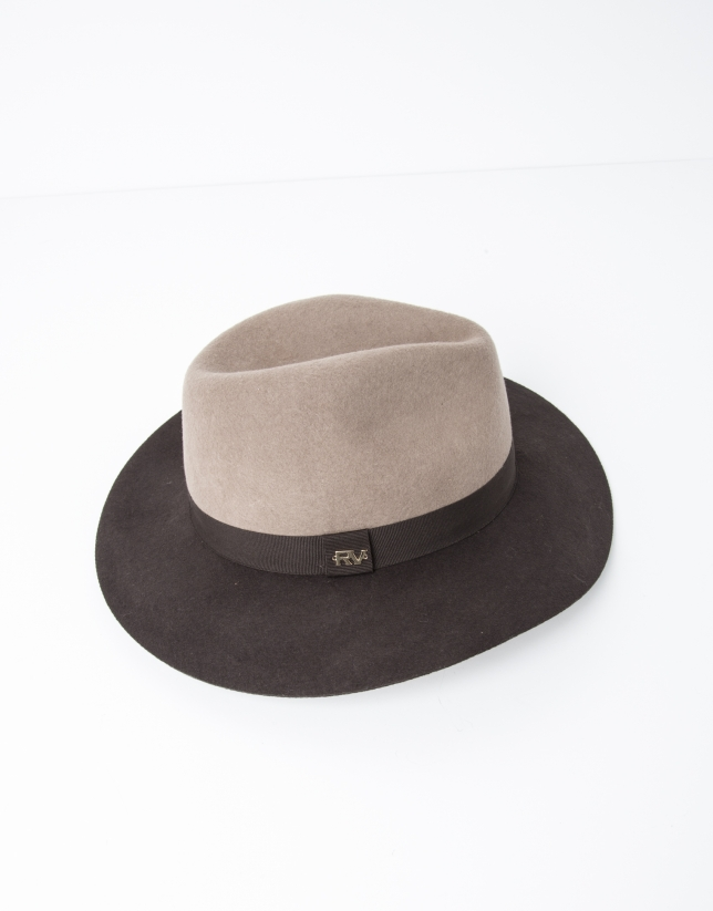 Brown and beige hat