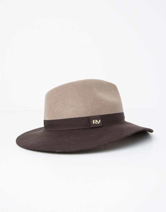 Sombrero bicolor topo y marrón