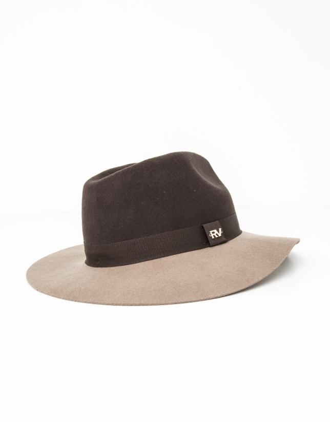 Chapeau bicolor marron et couleur taupe