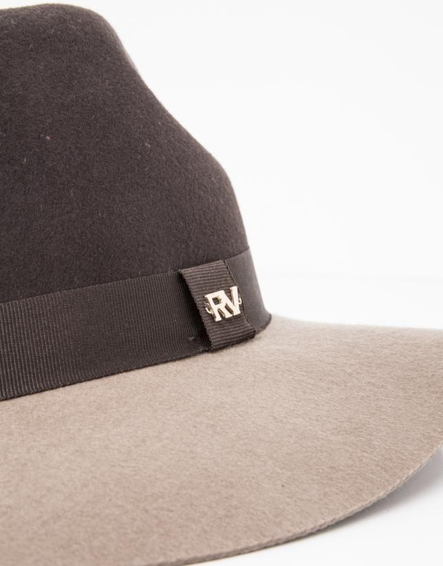 Sombrero bicolor marrón y topo