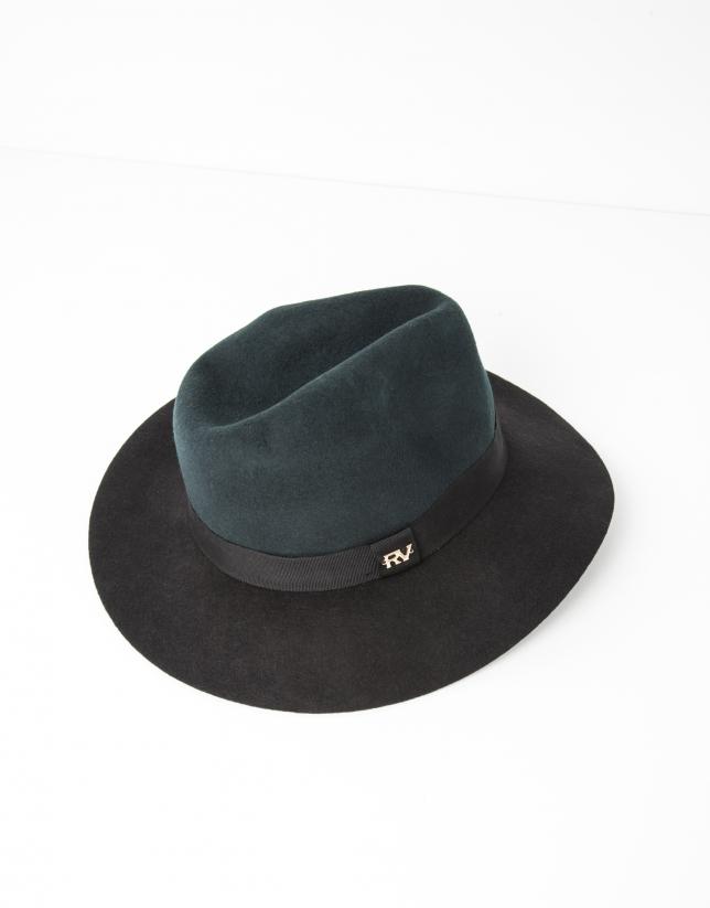 Chapeau bicolore vert et noir