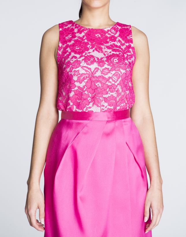 Fuchsia lace top with slits