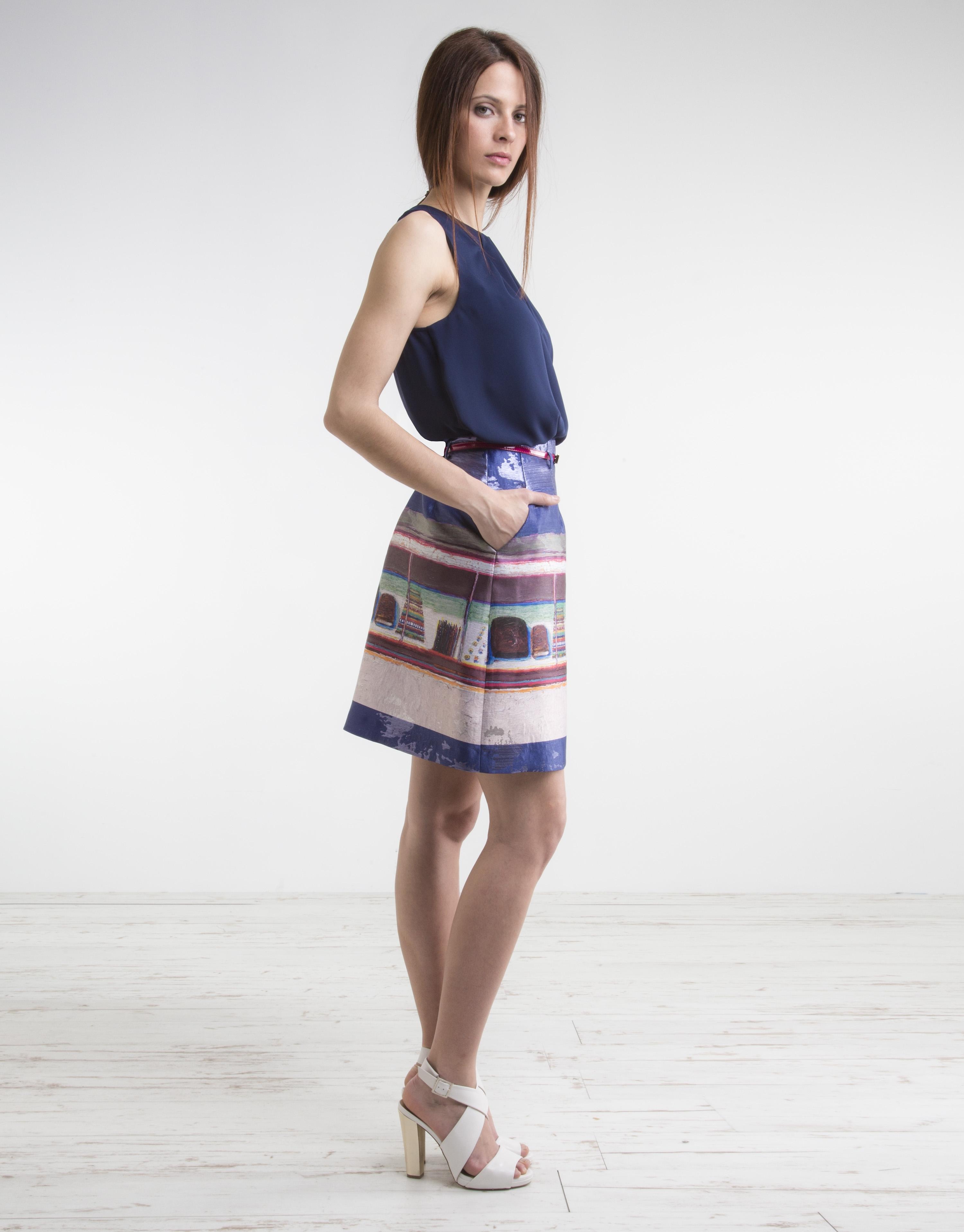 blue print skirt skirts roberto verino