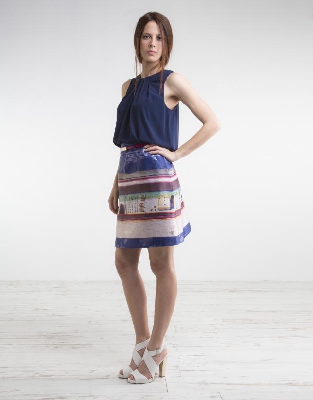 Falda estampado fantasía azul