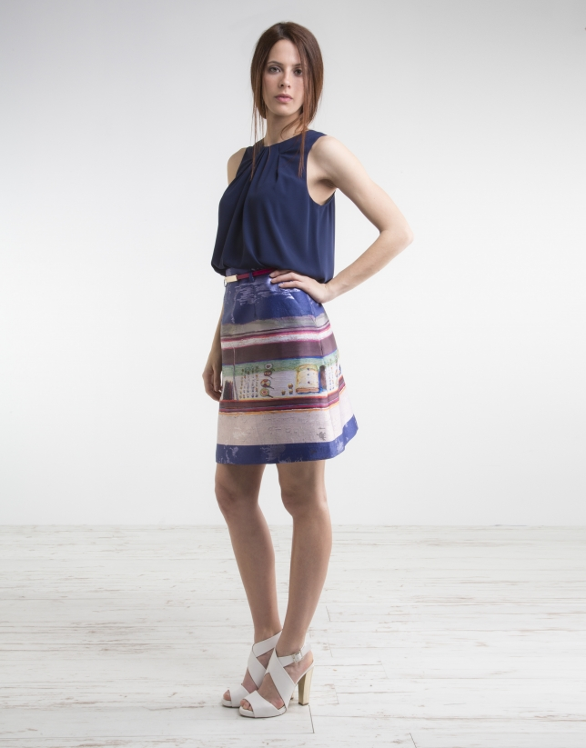 Jupe bleue, imprimé fantaisie