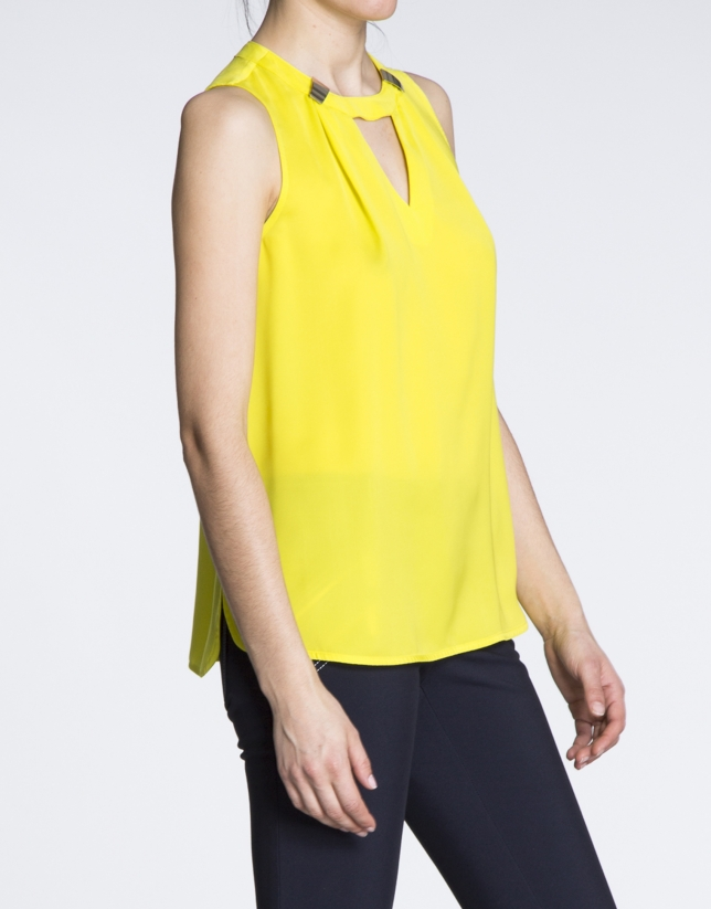 Yellow V-neck top