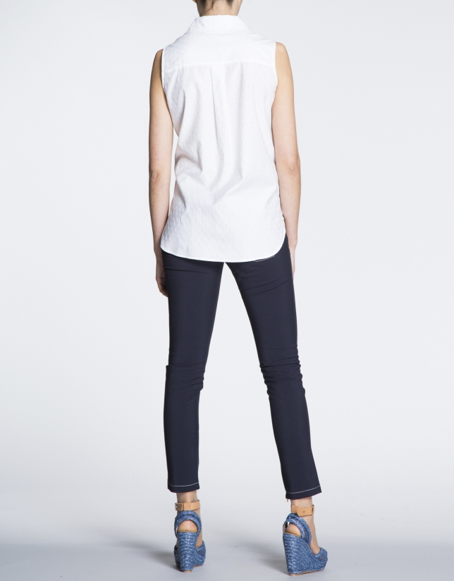 White cotton shirt with slits