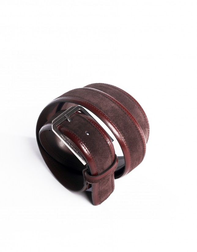 Brown contrast beveled-edge belt