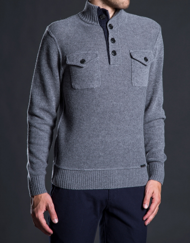 Pull col montant avec poches gris