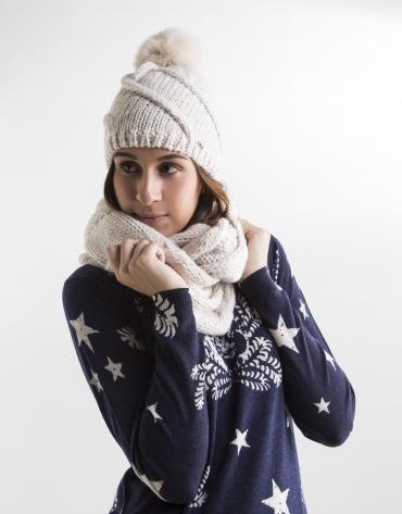 Bonnet à pompon en laine blanc