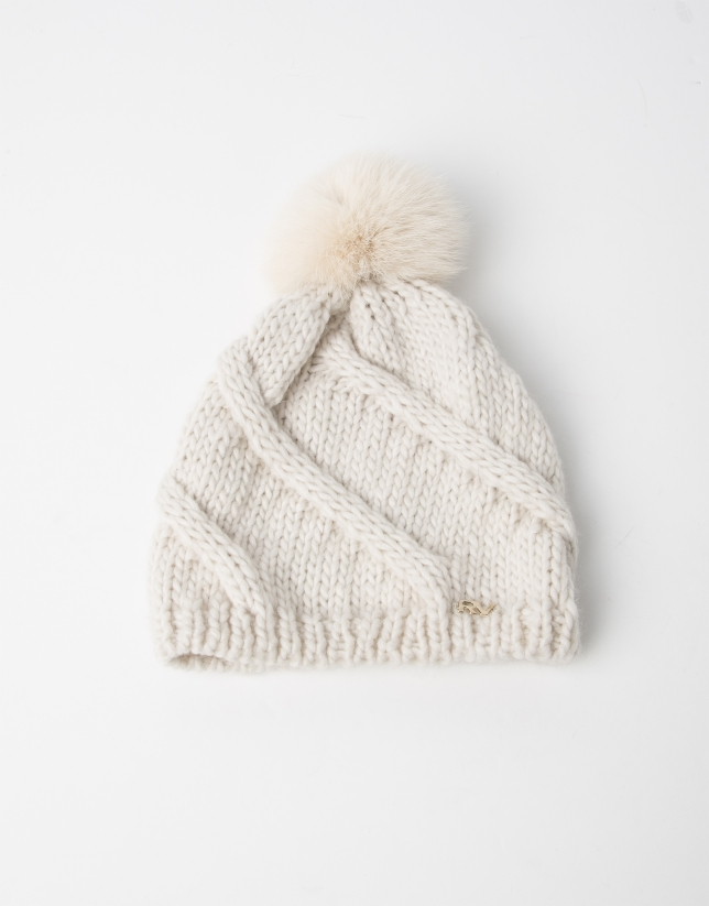 White wool cap with pompom