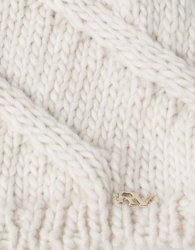 Gorro lana pompon blanco