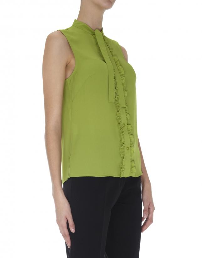 Top lazo cuello verde oliva