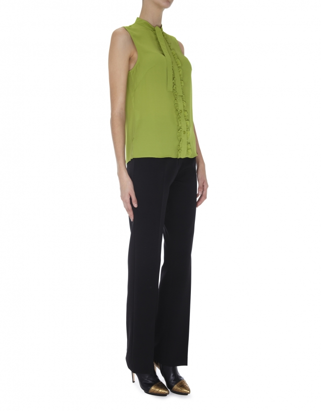 Olive green top with bow at neck