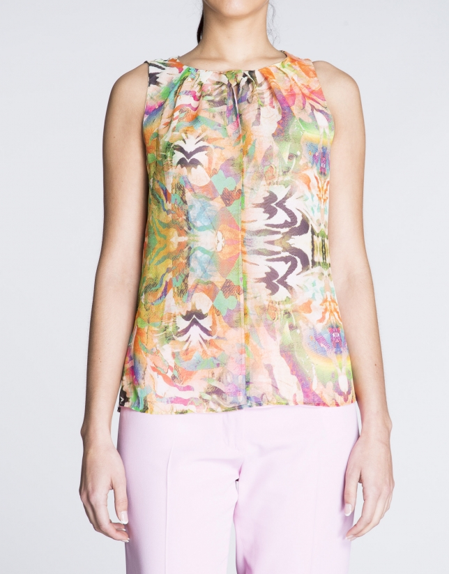 Sleeveless green and pink floral print top