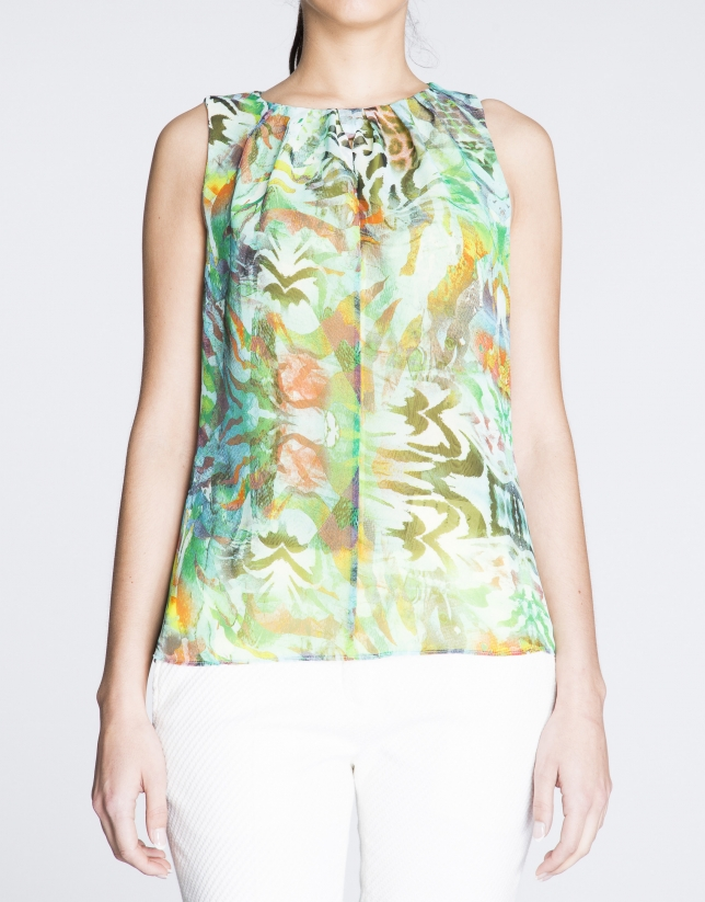 Sleeveless green and turquoise floral print top