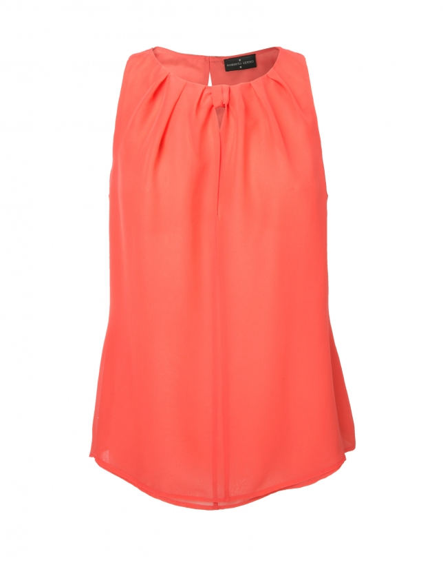 Coral sleeveless pink top with tie collar
