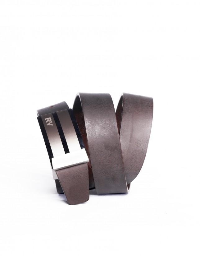 Brown belt 100% calf-leather