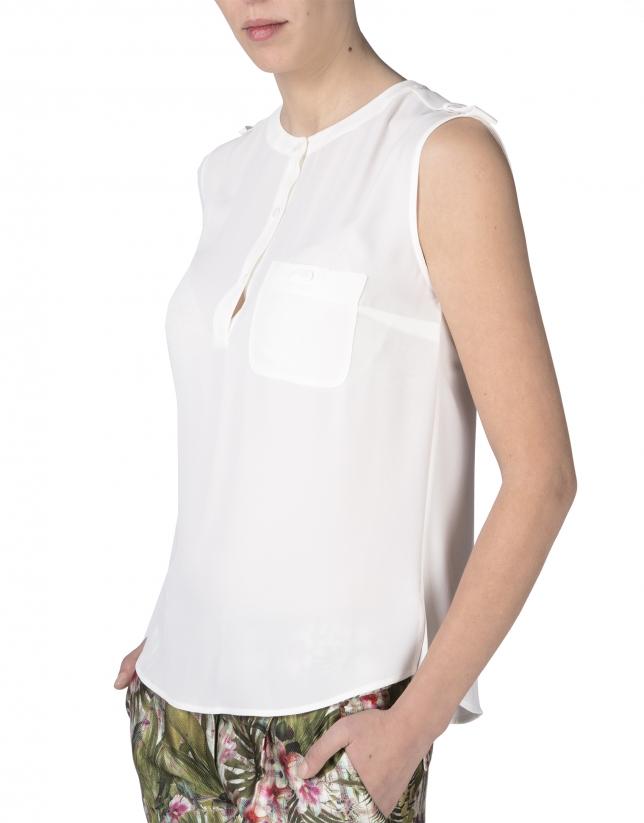 Blusa crepe blanco roto sin mangas