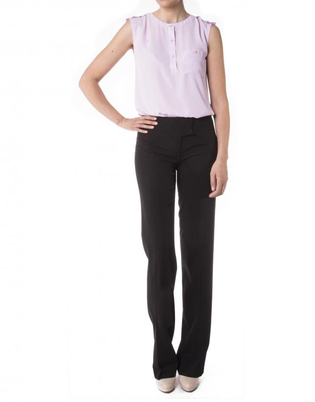 Pink sleeveless chiffon blouse