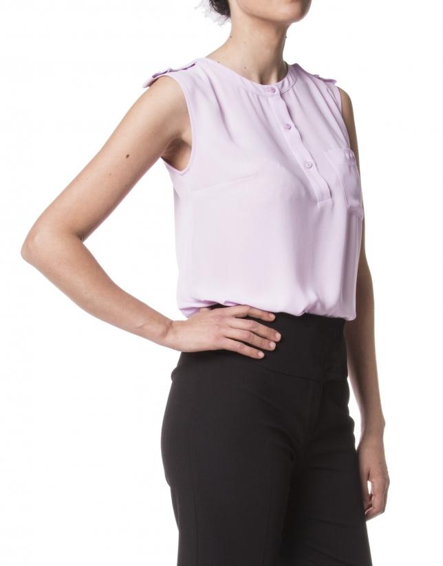 Blusa crepe rosa sin mangas