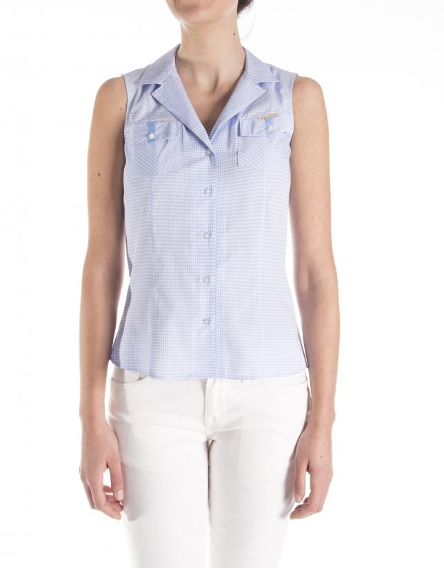 Sleeveless checkered shirt