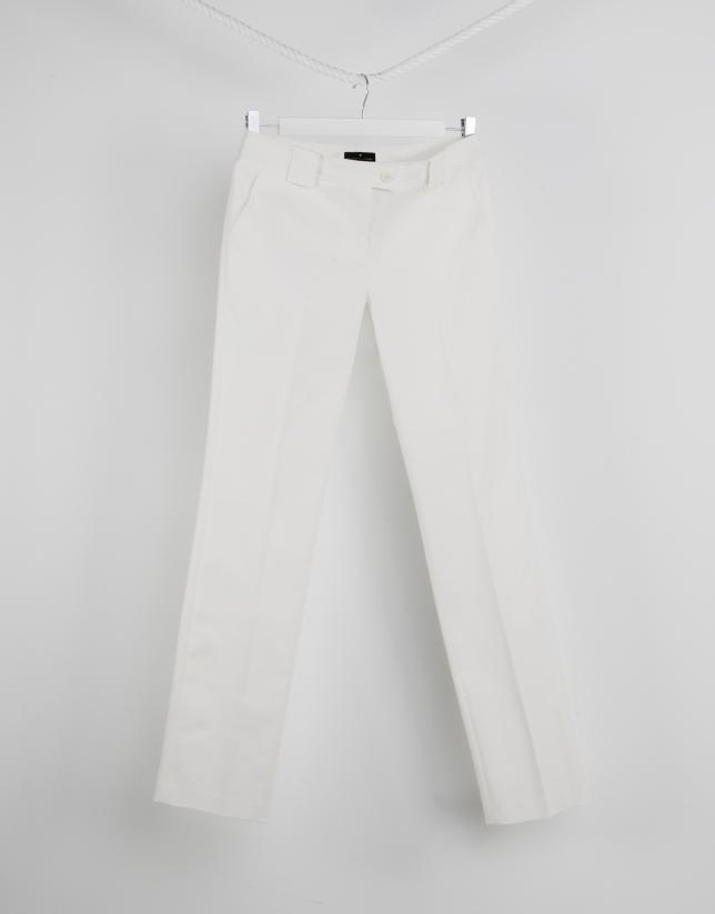 Pantalon droit blanc cassé